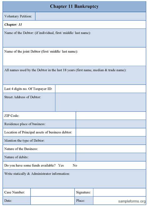 bankruptcy form chapter 11 bankruptcy form sle forms