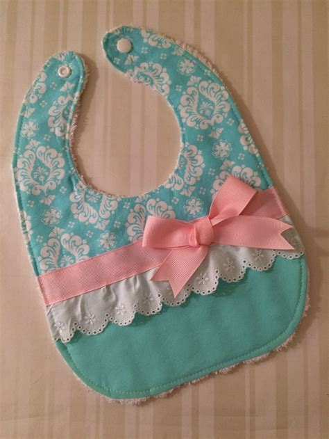 Bib Baby bib aqua pink white eyelet with bow