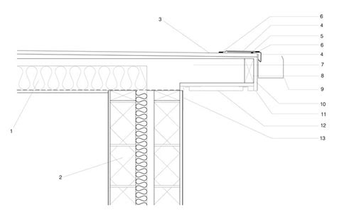 flat roof section drawing dwg files membrane roofing eaves detail technical