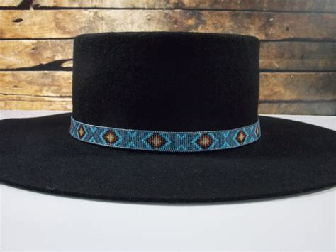 indian beaded hat band american beaded blue gray back hat band