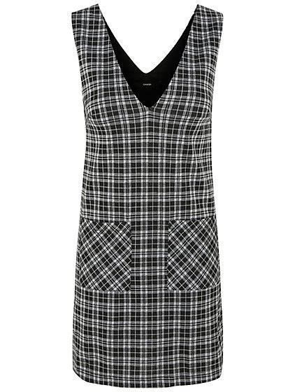 V Neck Check Dress check print v neck pinafore dress george