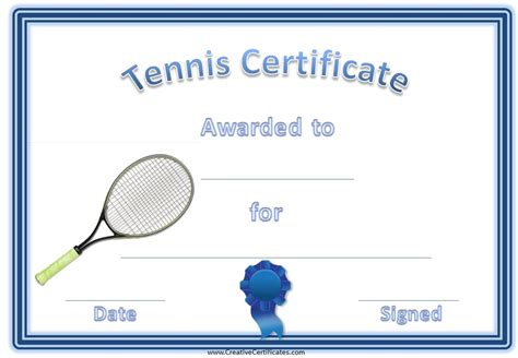 Free Tennis Certificate Templates   Customizable & Printable