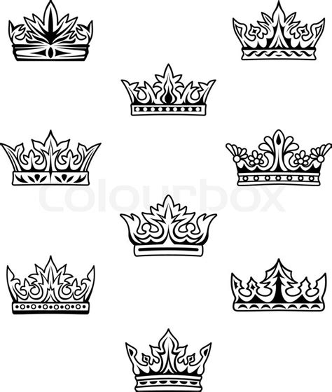 set of king and queen crowns stock vector colourbox