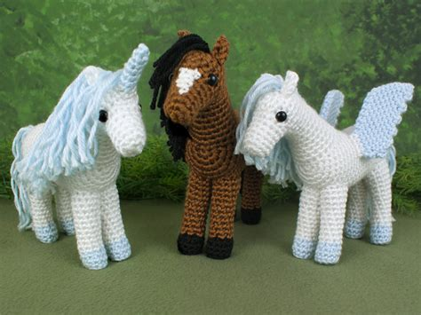 amigurumi horse unicorn and pegasus three amigurumi crochet