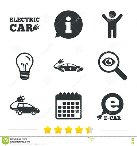 electric vehicles symbol electric car sign sedan and hatchback transport stock