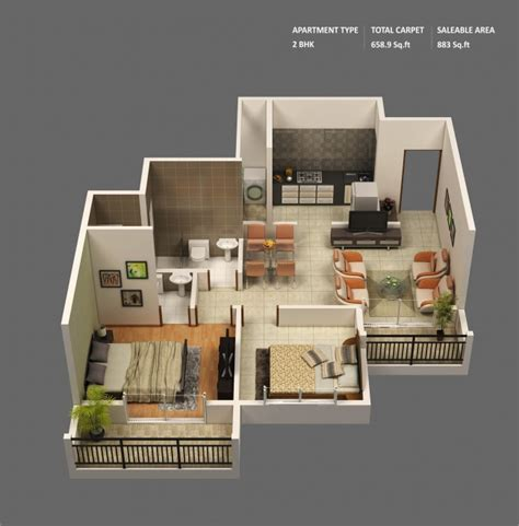 plan appartement 2 chambres idee plan3d appartement 2chambres 24