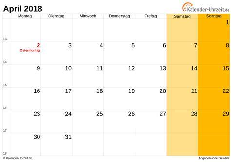 Vollmond Kalender 2018 April 2018 Kalender Mit Feiertagen