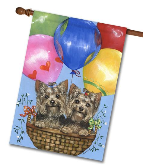 house yorkie puppy terrier balloons house flag 28 x 40 custom printed flags