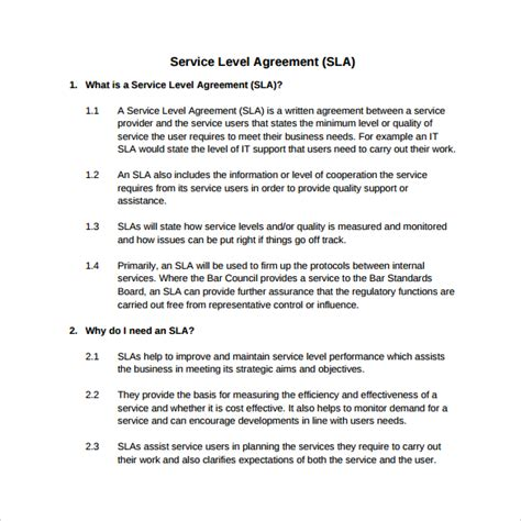 service level agreement template service level agreement 8 free documents in