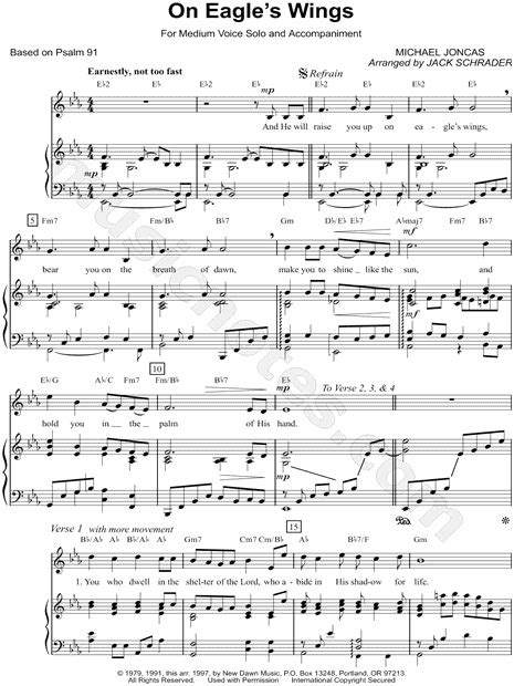Printable Lyrics To On Eagles Wings | michael joncas quot on eagle s wings quot sheet music in eb major