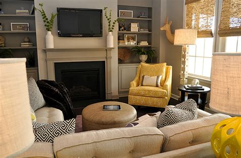 yellow  gray living room transitional living room