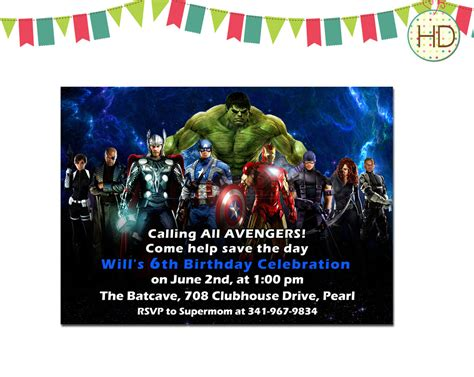 marvel birthday card template birthday invitation by