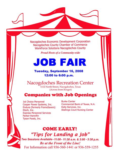 job fair on tuesday sept 16 at city recreation center