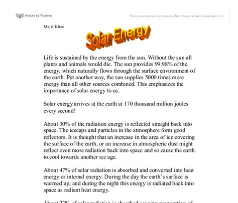 Solar Power Essay by Scientific Research Paper Exle