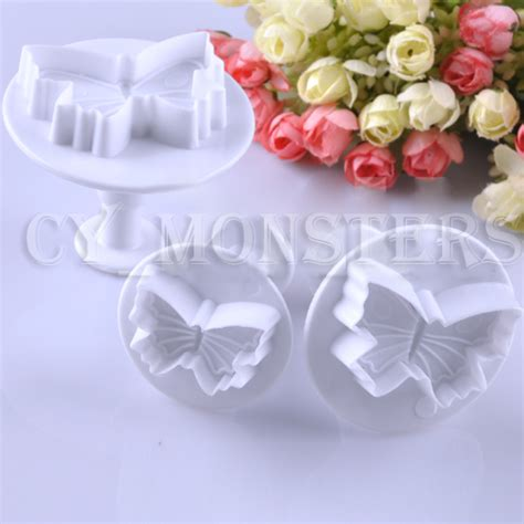 8914 Fondant Butterfly Mold Cake Cutter Cookies Decorating Gumpaste 3pcs set butterfly shape fondant cake cookie sugarcraft plunger cutters mold tools