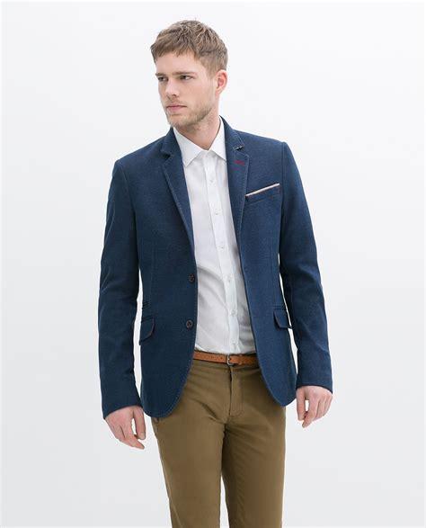 Blazer Zara Zara Blazer With Flap Pocket In Blue For Lyst