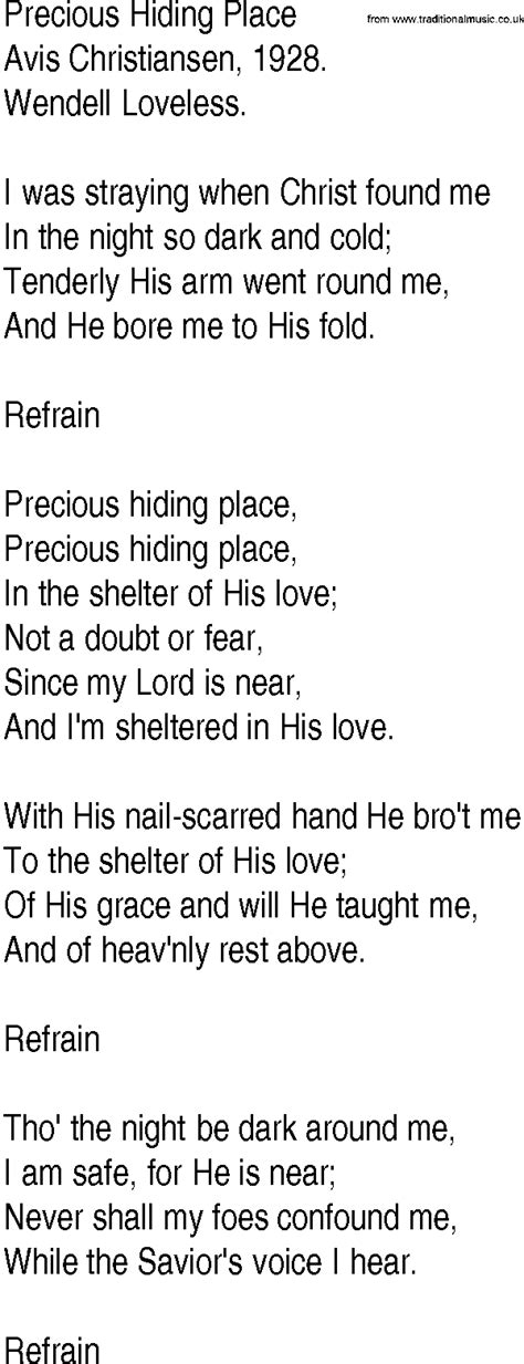 There Is A Place Hymn Lyrics Hymn And Gospel Song Lyrics For Precious Hiding Place By Avis Christiansen