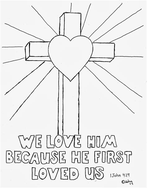 coloring page jesus cross coloring pages for kids by mr adron cross coloring