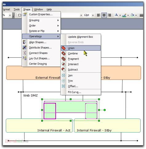 visio printable area network diagrams zones on a diagram with visio shape union