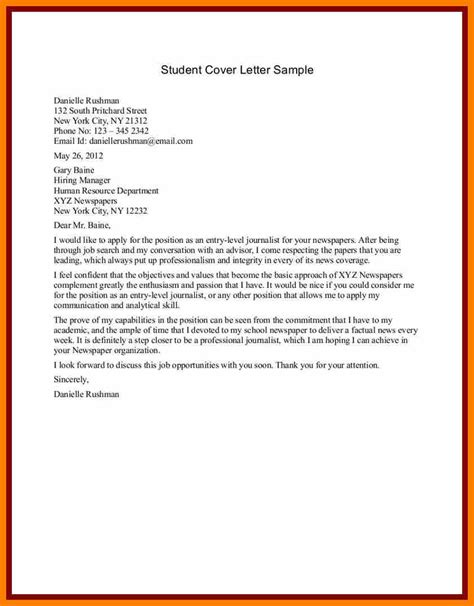 School Resume Cover Letter Exles 6 Sle Student Cover Letter Science Resume