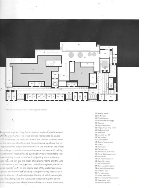 therme vals floor plan therme vals architectural drawings and plans