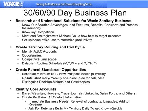 90 day development plan template 30 60 90 business plan