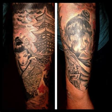 samurai gueixa e templo tatuagem com tatuagens tattoo