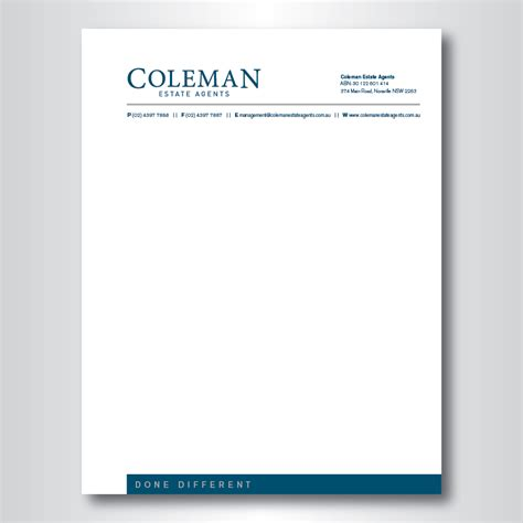 letterhead design for coleman estate agents by dotnot