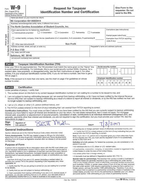 printable w 9 form new york w 9 form north carolina association of student councils