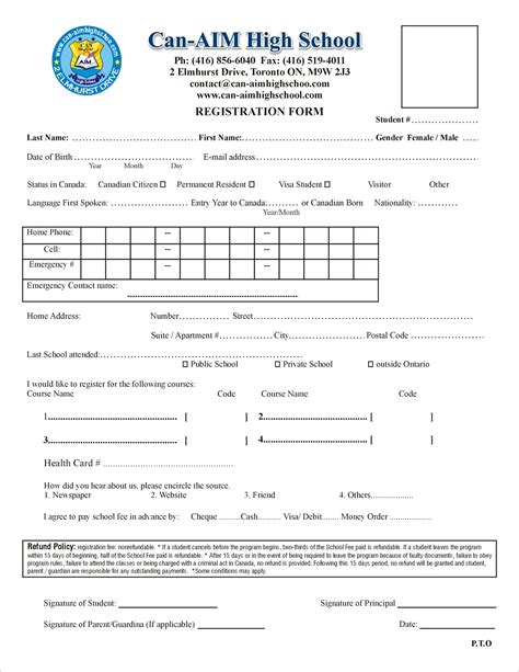 high school registration form template school registration form www imgkid the image kid