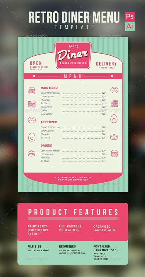 Diner Menu Diners And Retro On Pinterest 50s Diner Menu Templates Free