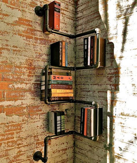 iron pipe shelving systems for loft walls corners