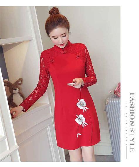 jual cheongsam cheongsam warna merah lengan panjang 2018 model terbaru