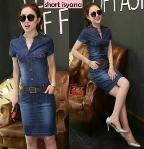 Baju Dress Wanita Dress Denim model baju dress pendek denim terbaru cantik dan modis