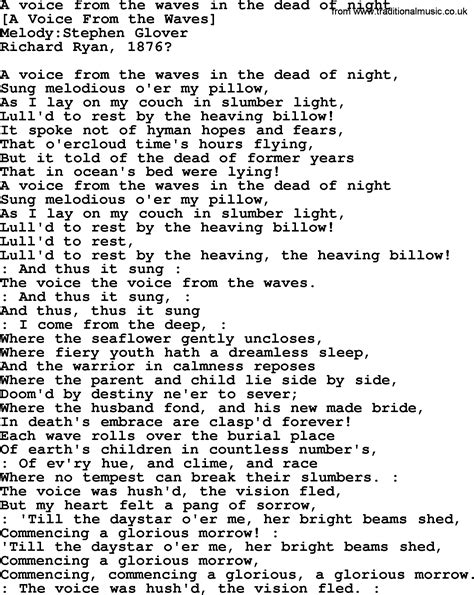 songs of a dead old american song lyrics for a voice from the waves in the dead of night with pdf