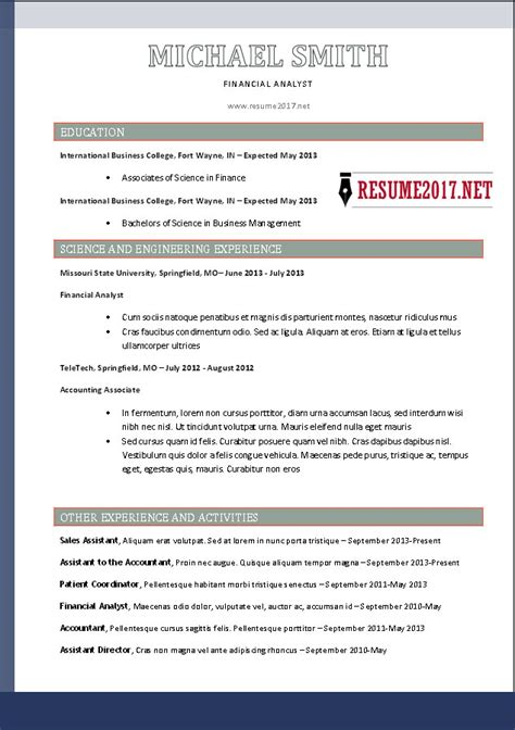 Resume Template 2017 Free by Free Resume Templates 2017