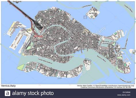 ledusa island italy map venice italy island city map stock vector