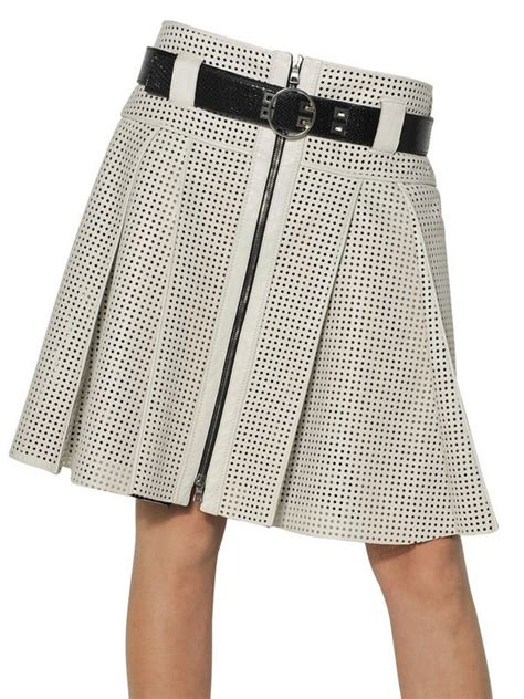 proenza schouler perforated nappa leather pleated skirt in