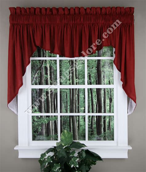 burgundy kitchen curtains renaissance emery lined 3 swag set 36 l