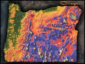 topographical map of oregon oregon topography map physical features mountain colors