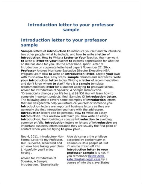 Introduction Letter To Professor how to write an introduction letter