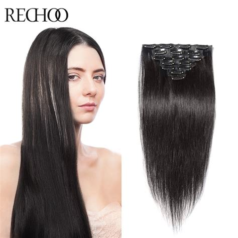 Clip In Hair Extensions Quality Human Hair Wefts Buy | rechoo hair product straight full head clip in remy hair