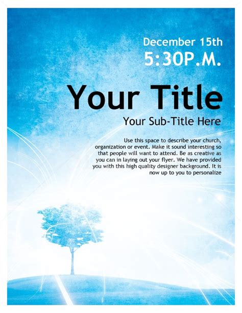 Templates For Church Posters | blue sky church poster template flyer templates