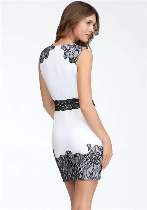 21867 Blackwhite Lace bebe lace trim ponte dress in white lyst