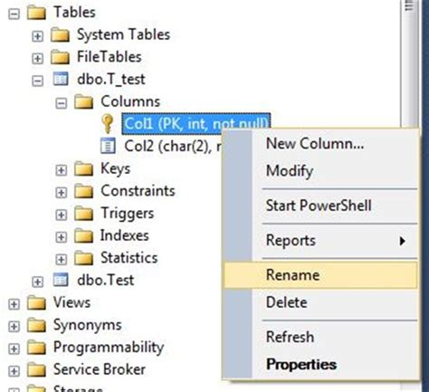Tsql Rename Table by Sql Server Effects Of Renaming A Column Of A Table