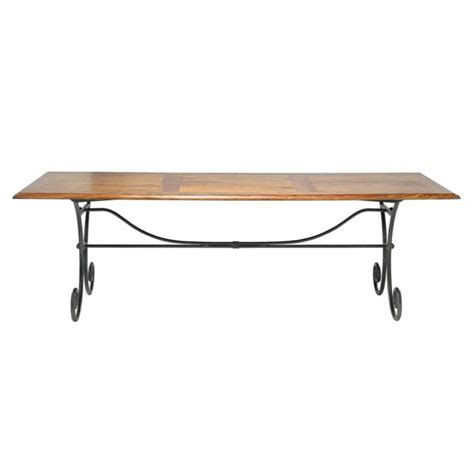 Wrought Iron And Wood Dining Table Solid Sheesham Wood And Wrought Iron Dining Table W 240cm Lub 233 Maisons Du Monde
