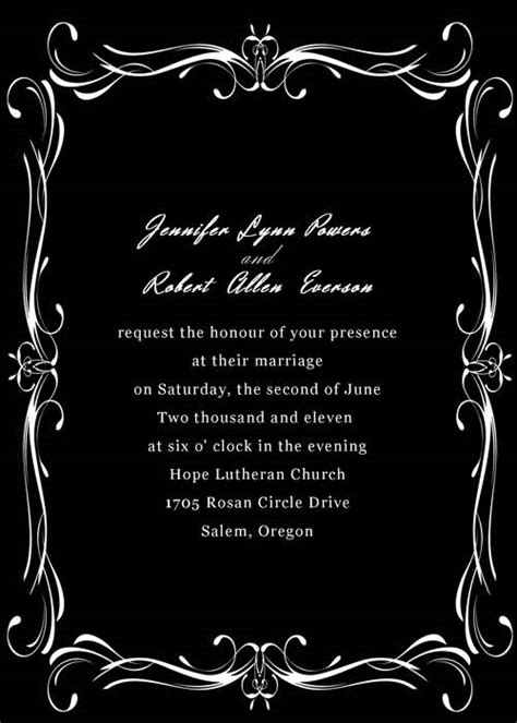 black and white invitation card template invitationstyles 2013 fashion new formal frame black