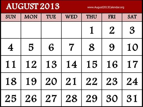 August 2013 Calendar August Calendar Clipart Clipart Suggest