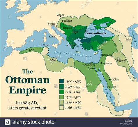 empire of ottoman the ottoman empire at its greatest extent in 1683 stock