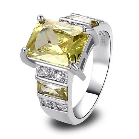 Cincin Fashion 925 Silver Ring White Topaz Amethyst Wedding aliexpress buy lingmei free shipping emerald cut green amethyst white topaz silver ring